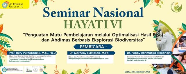 Seminar Nasional Hayati VI Tahun 2018
